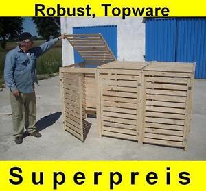 Mülltonnenbox Müllbox 3 Tonnen Müllcontainer Verkleidung Gartenbox 240 Holz NEU