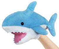 Blue Plush Shark Hand Puppet - Stuffed Toy - 14 Inches - By ICE KING BEAR