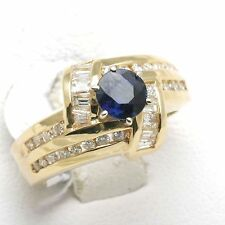 Blue Sapphire & Diamond Ring 14k yellow gold Ring baguette 1 2/3 carats NEW