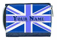 BLUE UNION JACK PERSONALISED DENIM PURSE - GREAT LADIES/GIRLS NAMED GIFT/PRESENT