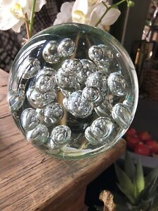 """Clear Glass paperweight - large heavy some signs of wear 6"""" x 6"""" 14 cm doorstop"""