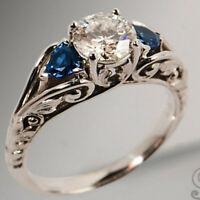 925 Silver White Topaz Sapphire Gemstone Wedding Jewelry Party Ring Size 6-10