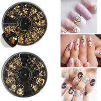 3D Glitters Nail Art Rhinestones Acrylic Manicure Tips Decoration Wheel Set