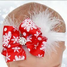 Red White Bow Feather Snow Flower Newborn Baby Girl Headband Christmas Headwear