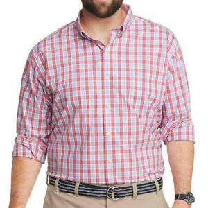 IZOD 2X Big Tall Premium Natural Stretch Red Multi Plaid Button Down Dress Shirt