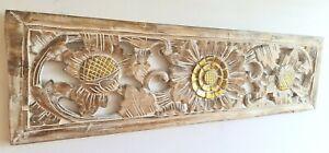 Whitewash Wood Carved Wall Art Sunflower Hanging Decor