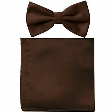 New formal men's pre tied Bow tie & Pocket Square Hankie solid brown wedding