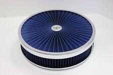 "14"" X 3"" Chrome Round Blue High Flow Thru Washable Air Cleaner Flat Base 350 SBC"