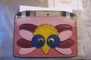 NWT BURBERRY IZZY BEASTS OWL LEATHER CARD CASE CINNAMON RED COLOR