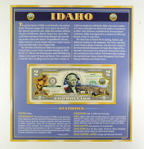 2013 Idaho State Overlay' Limited Edition $2 FRN Note Colorized *378