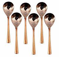 Steel Copper Rice Spoon Set, Serving Home Restaurant, Dinnerware, 8'' 6 pcs