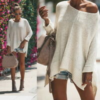 Sexy Women's Long Batwing Sleeve Knit Sweater Loose Sweatshirt Tops Solid Blouse