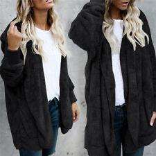 Fleece Fur Jacket Outerwear Tops Winter Warm Hooded Fluffy Coat Fashion Women