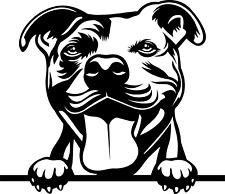 Pit Bull Peeking Dog Window Decal