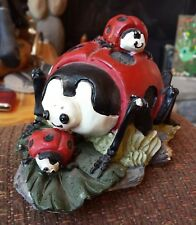 Vtg Ladybug Figurine With Babies Red Black Spring Lady Bug Rustic Hand Painted