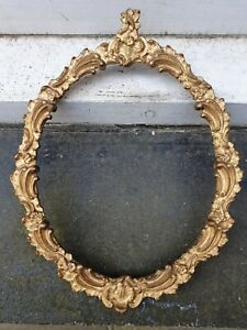 """ANTIQUE VICTORIAN OVAL GOLD PAINTING PHOTO PICTURE FRAME 9 1/4"""" W X 12"""" D"""