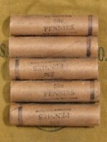 (FIVE) FNB Denver Lincoln Wheat Cent Penny Rolls 250 Pennies 1909-1958 PDS