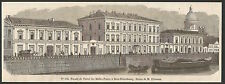 façade de l'Hôtel des Malles-Postes à Saint-Pétersbourg  gravure XIXe /B2IN