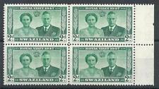 Swaziland 1947 Sc# 45 Royal visit King George Queen Elizabeth colony block 4 MNH