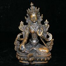 Exquisite Old collectionsTibet Bronze Tibetan Buddhism Statue -- Green tara