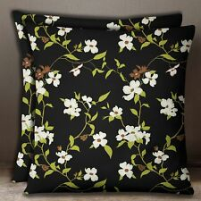 Black 2 Pcs Decorative Cotton Poplin Floral Print Pillow Sofa Cushion Cover