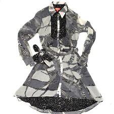 Kirna Zabete for Target Womens High-Low Hem Shirt Dress Stars Black White Size M