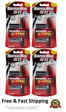 4 Supermax SII 20 Cartridges fit Gillette Trac II Razor Handle blades Shaver