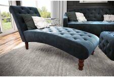 Modern Chaise Lounge Chair Living Room Tufted Velvet Upholstery Couch Blue