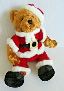 "Vintage 16"" Brown Christmas Teddy Bear in Santa Claus Outfit"