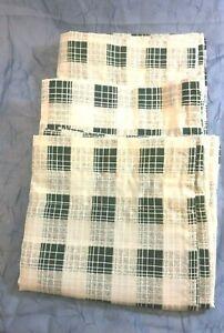 "3 JC Penny Green Tan Plaid Striped Valances 60""W x 12"" L Calais New Farmhouse"