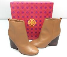 TORY BURCH Grove 100MM Bootie Boots size 8 Royal Tan Leather Ankle Block Heel