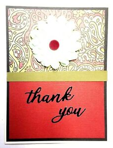 THANK YOU Greeting Card - Paisley Flower - Handmade A7 size & Envelope