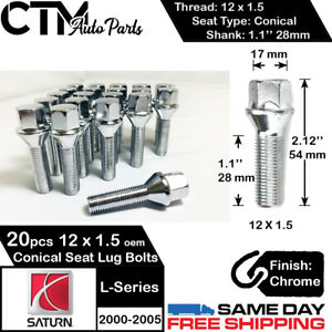 20PC 12X1.5 SATURN FACTORY OEM CHROME LUG BOLT FIT 2000-2005 SATURN L-SERIES