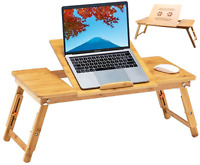 """28"""" Bamboo Folding Notebook Laptop PC Lap Bed Stand Table Desk Tray with Drawer."""