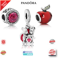 PANDORA 925 Sterling Silver Mickey and Minnie Love apple Hanging Charm Bracelets