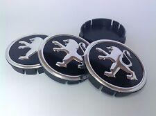PEUGEOT  4pcs Plastic Wheel Centre Caps with Alu Emblem 60mm/55mm NEW