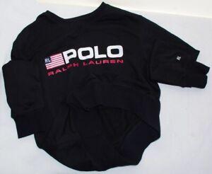 POLO RALPH LAUREN BLACK MANS AMERICAN FLAG APPLIQUE RIBBED SWEATSHIRT SWEATER