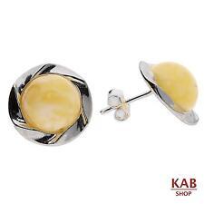 Crema Ambra baltica argento sterling 925 GIOIELLERIA BOTTONE orecchini. KAB -188