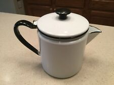 Vintage Enamelware Coffe Pot Hinged 7.25 Tall White Black Trim Very Nice Cond.