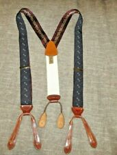 Trafalgar Suspenders - Navy with Bow Tie Style Pattern - Brown Leather Accents