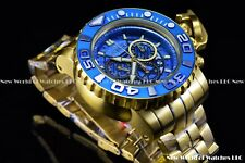 Invicta Mens 70mm Full Sea Hunter III Blue Swiss Movement 24k Gold Plated Watch