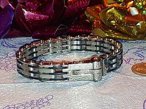 Modernist INOX Stainless Steel & Black Rubber Cable Bar Bracelet
