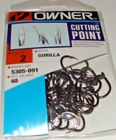 OWNER RINGED GORILLA Cutting Point 5305R-111 Size 1//0 34 HOOKS PER PACK