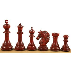 """4.6"""" Prestige Luxury Staunton Chess Pieces Only set-Bud Rosewood-Triple Weighted"""