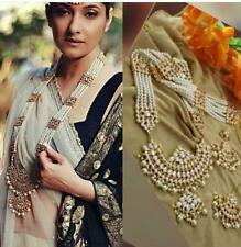 Indian Bollywood Gold Plated Pearl Long Necklace Earring Tikka Wedding Jewelry