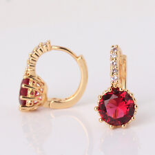 24ct Yellow Gold Filled Solitaire Hoop Earrings Garnet Red round Topaz Crystal