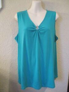 SUSAN GRAVER Sz L Turquoise Ruched-Ring V-Nk Liquid Knit Tank Top