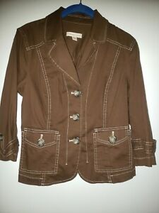 NWT Women's COLDWATER CREEK Brown Contrast Stitch Button Jacket Size Petite 12