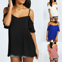 Sexy Women Short Sleeve Top Blouse Summer Off Shoulder Casual Loose T-Shirt Tops