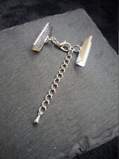 "6 sets Silver Plated Crimp Ends for 22mm (7/8"") Ribbon with 12mm Clasps & Chain"